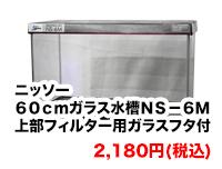 ニッソー 60cmガラス水槽 NS-6M 上部フィルター用ガラスフタ付